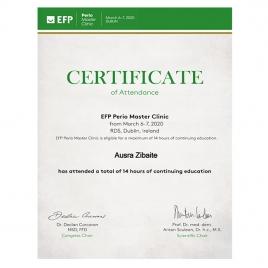 EFP Perio Master Clinic sertifikatas